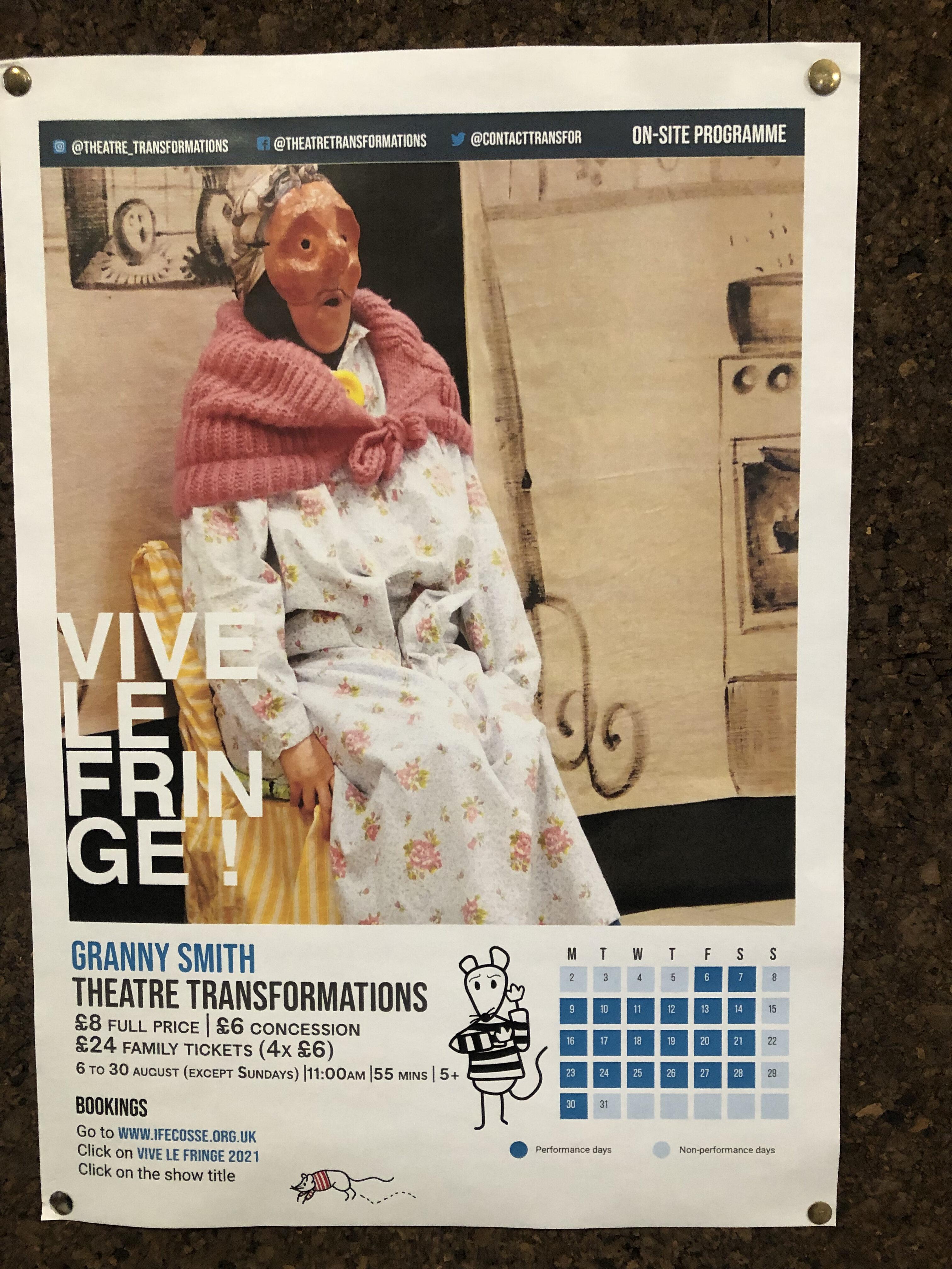 Granny Smith show at the French Institute, Edinburgh Fringe